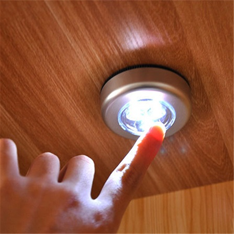SSU#BAO LED Auto Luminaria Home Electronic Accessories Creative Round Button Car Wardrobe Moon Lamp Paste Night Light Lamp
