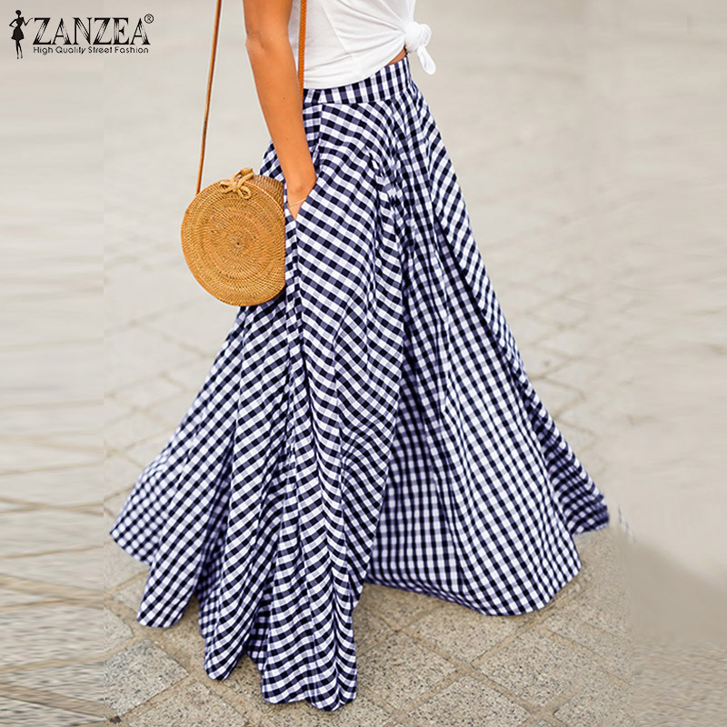ZANZEA 2020 Autumn Women Zipper Pleated Skirts Ladies Plaid Check Pockets Long Maxi Faldas Femme Bohemian Long Skirt Jupe 5XL