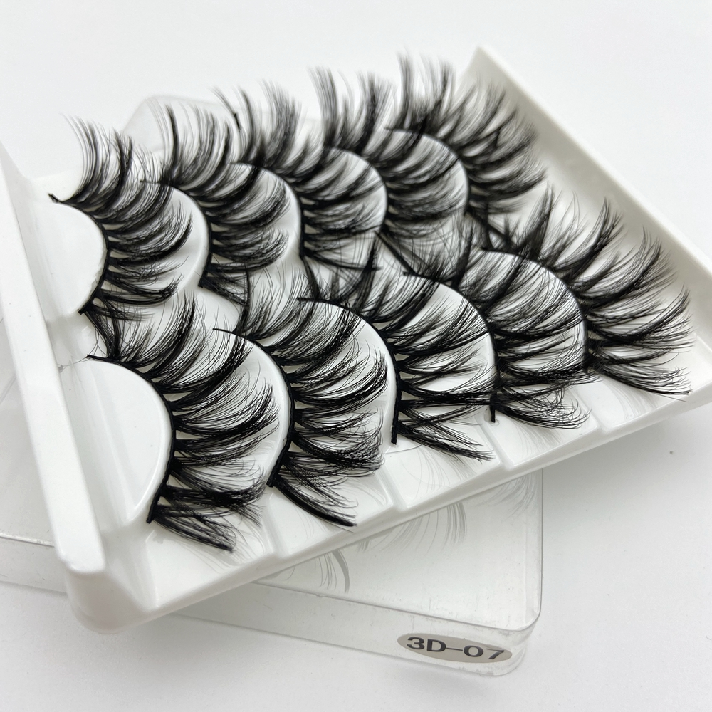 Buzzme Faux 5 Pairs 3d Mink Lashes False Eyelashes Wholesale Thick Strip Label Makeup Dramatic Long Makeup Silk Lashes