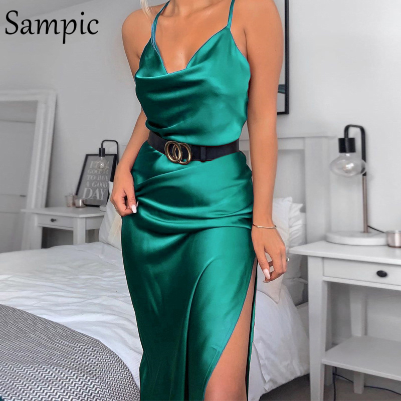 Sampic party woman club strap sexy split bodycon long dress green satin maxi wrap ladies summer dress 2019