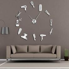Fashion 3D Wall Clock Three-dimensional Acrylic DIY Wall Clock Barber Tools Clocks Simple Jewelry Home Decor Clock tanie tanio Europa Wall Clocks cartoon Wyciszenie głośnika circular Akrylowe Salon Pojedyncze twarzy Oddziela 405g Mechaniczne Igła