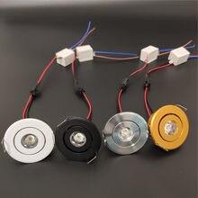 Minilanterna led de 3w e 1w, regulável, para ponto, luminária embutida, ac85-265v, alumínio 52mm