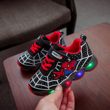 Светодиодный свет, детская обувь, светящаяся обувь с рисунком Человека-паука для мальчиков, Весенняя Мужская и женская спортивная обувь для бега, Детские кроссовки с подсветкой