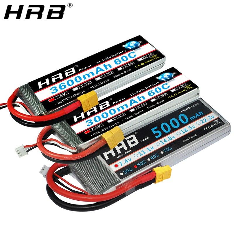 HRB 2S 7.4V Lipo Battery XT60 1800mah 2600mah 3300mah 3600mah 4000mah 5000mah 5200mah 6000mah 8000mah 10000mah RC Airplane Parts