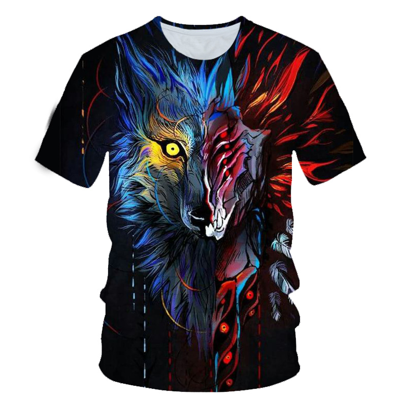 3D Print Male Tee Shirt Both Sides Wolf Cool T-shirt Men Short Sleeve Summer Tshirts Evil Both Sides Wolf Head Printing T Shirt