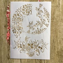 A4 29 * 21cm Flowers floral pattern DIY Stencils Wall Painting Scrapbook Coloring Embossing Album Decorative Paper Card Template