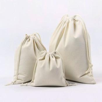 10PC/lot Cotton Drawstring Bag Household Storage Bag Reusable Shopping Linen Bag Coin Travel Storage Christmas Gift Pouch