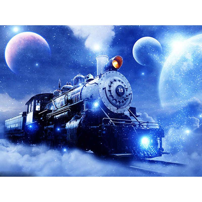 """100% Full 5D DIY Daimond Tranh """"Sky Train"""" 3D Tranh Gắn Đá Tròn Ren Diamant Tranh Thêu Hoạt Hình"""