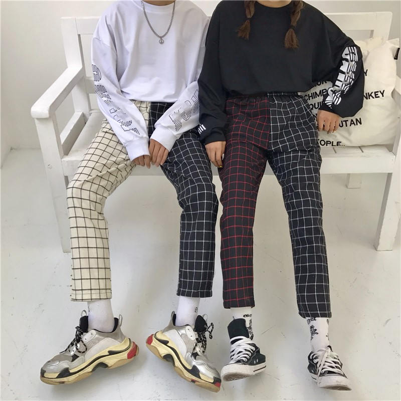 Neploe Vintage Plaid Patchwork Pants Harajuku Woman Man Trousers Elastics High Waist Pants Korean Causal Straight Checkerboard 11