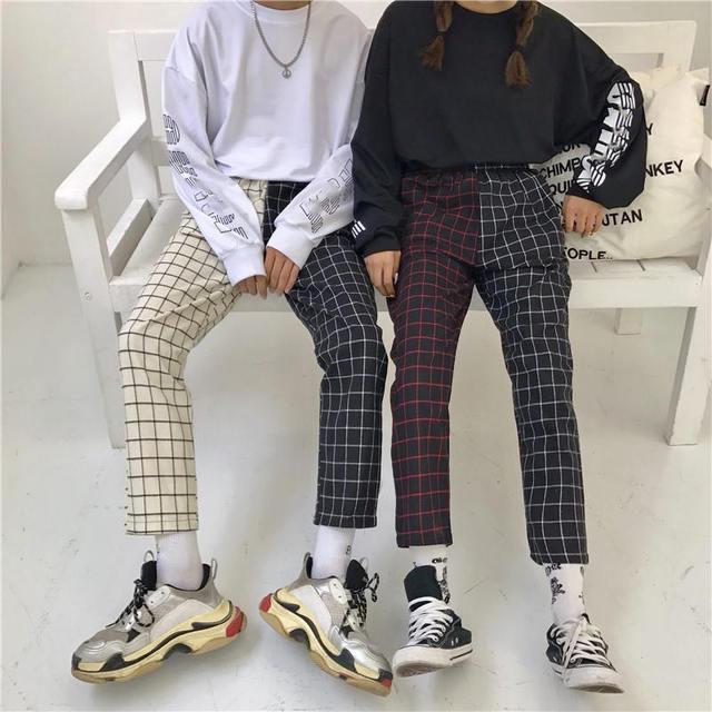 Neploe Vintage Plaid Patchwork Pants Harajuku Woman Man Trousers Elastics High Waist Pants Korean Causal Straight Checkerboard 4