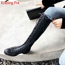 Low-Heels Krazing-Pot High-Boots Modern Streetwear Lace-Up L37 Round-Toe Thick Keep-Warm