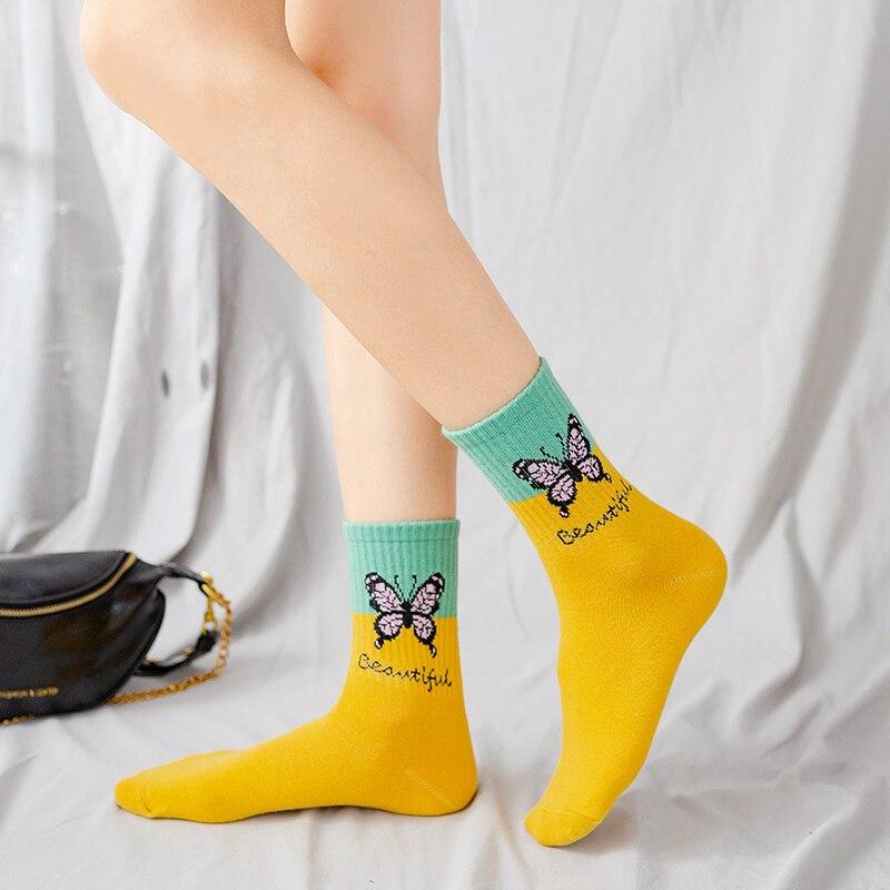 Dreamlikelin Spring Autumn Women's Happy Socks Colored Butterfly Print Cotton Socks Hipster Fashion