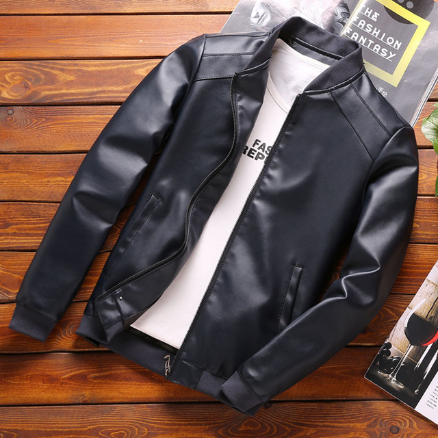 Thoshine Brand Spring Autumn Men Leather Jackets Classic Slim Fit Male PU Leather Coats Motorcycle Biker Streetwear Smart Casual