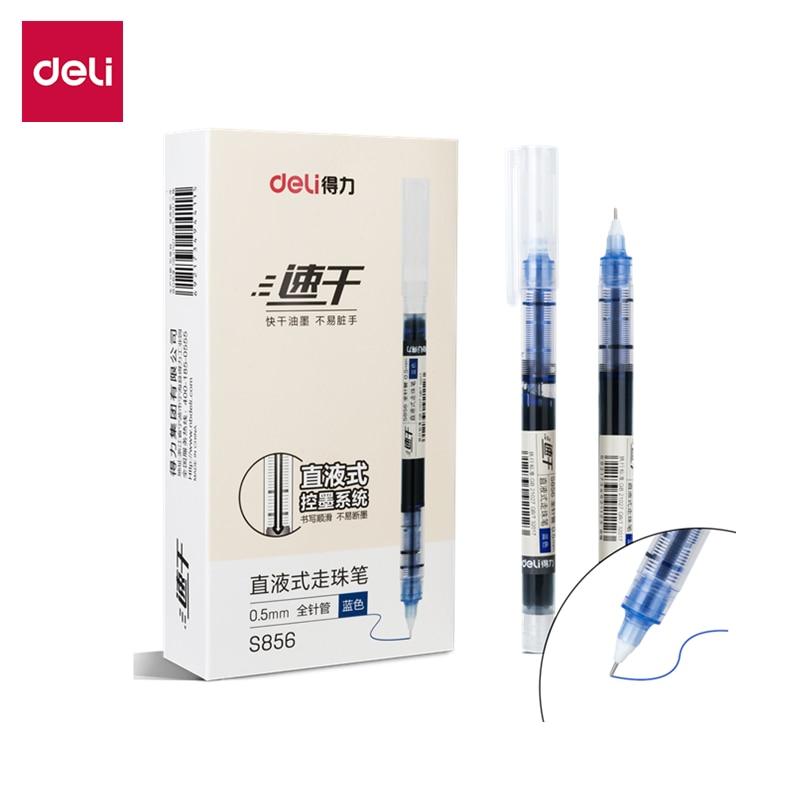 DELI S856 Roller Pen 12pcs/Box ballpoint 0.5mm big capacity 1100m smooth writing quick dry office school supplies Gel Ink Pen