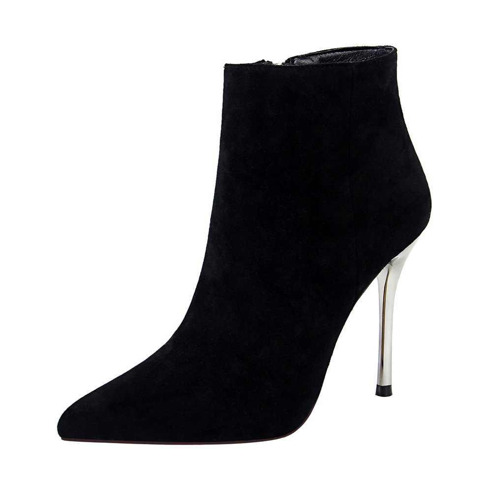 Kadın moda elbise botları ayak bileği akın sivri burun 10cm stiletto süper yüksek topuklu kadın kış kürk sıcak ayakkabı bigtree ayakkabı