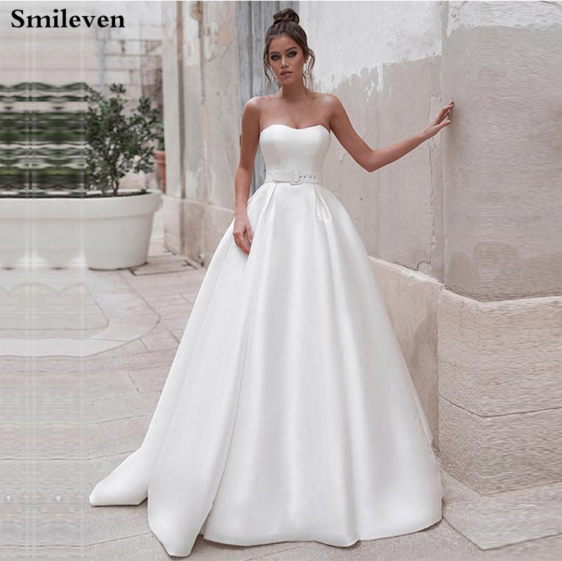 Smileven Princess Wedding Dresses 2 Pieces Satin A Line Boho Bride Gowns Lace Long Sleeve Vestido De Noiva