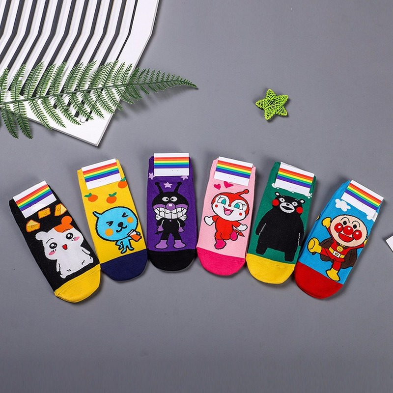 Cartoon Kumamon Print Sock Trotting Hamtaro Baikinman Anpanman Dokin Chan Fruit Juice Cute Fun Women Cotton Socks Autumn Casual