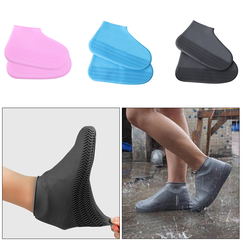 Reusable Waterproof Elasticity Shoes Covers For Traveling Beach Non-Slip Rubber Rain Shoe Covers Waterproof Solid Shoe Cover