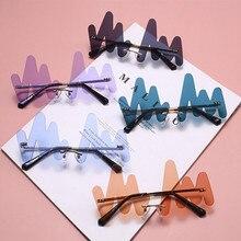 Persönlichkeit Welle Randlose Sonnenbrille Frauen Marke Mode Punk Sonnenbrille Weibliche Rahmenlose Blau Gebogene Gläser UV400