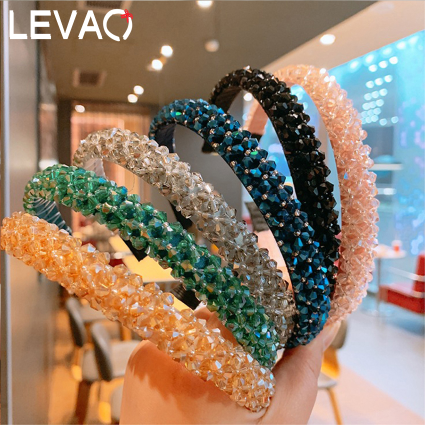 Levao Women Baroque Style Multicolor Rhinestone Hairband Wide Crystal Headbands Women Wedding Hair Hoop Womens Hair Accessories