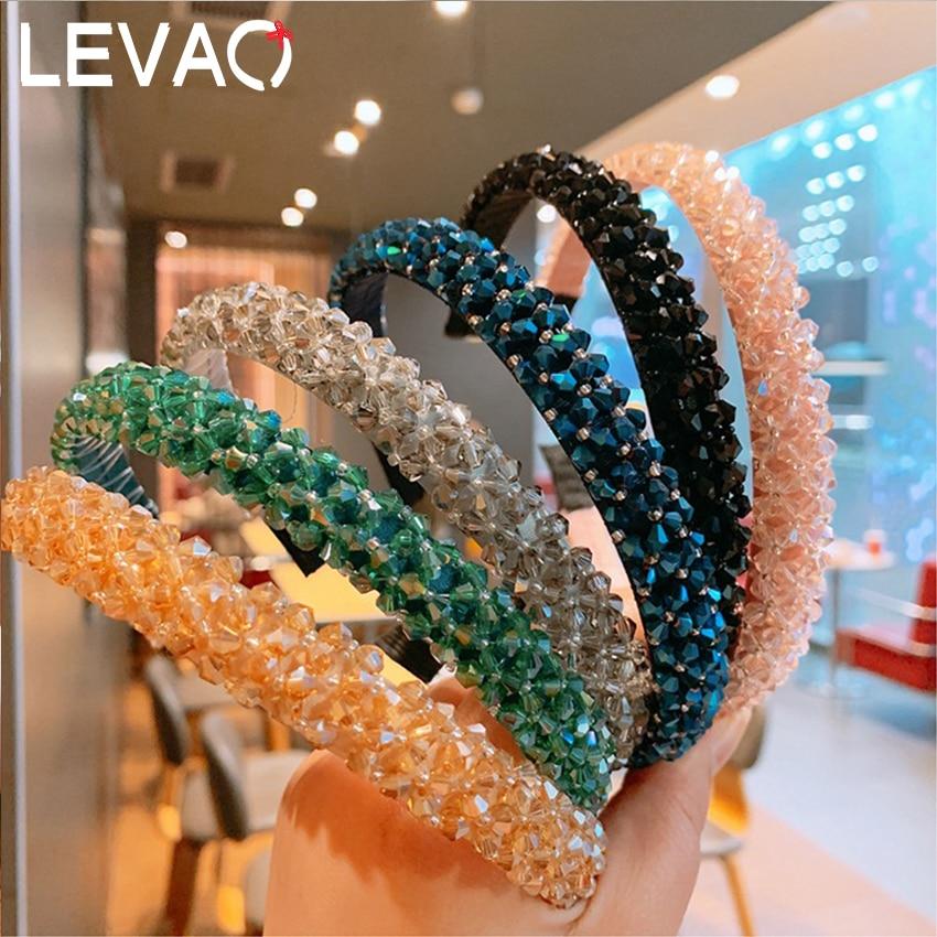 Levao Women Baroque Style Multicolor Rhinestone Hairband Wide Crystal Headbands Women Wedding Hair Hoop Womens Hair Accessories