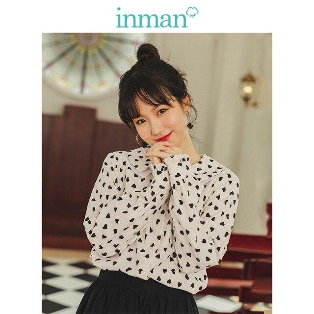 INMAN , осень 2019, Новое поступление, Ретро стиль, для молодых девушек, с милым отложным воротником, с принтом, 100% хлопок , женская блузка