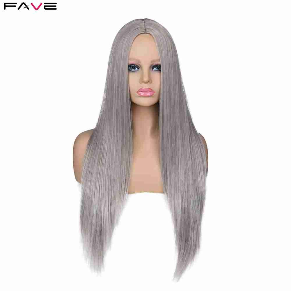 FAVE Long Straight Gray Ash Brown Blonde Synthetic Wigs For White /Black Women 24 Inch Middle Part Cosplay Or Party
