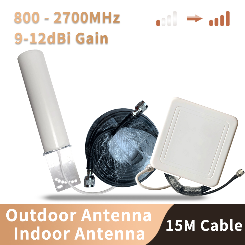 800-2700mhz 4G 3G 2G Antenna Phone Signal Booster Repeater Amplifier LTE CDMA GSM DCS N Female Indoor And Outdoor Antenna SET
