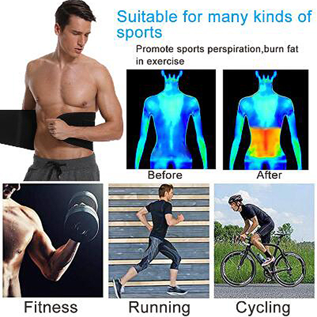 Waist Trimmer Sweat Belt Weight Loss Waist Trainer Slimming Belt for Men and Women Fat Burner Low Back Support Mens Shaper 1