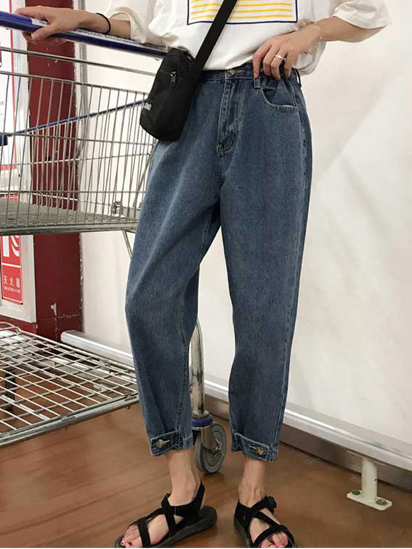 Korean-style High-waisted Online Celebrity Style Jeans Women's Spring And Autumn 2019 New Style College Style Slimming Loose-Fit