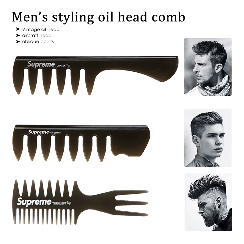 1Pcs Handle Grip Large Tooth Detangling Curly Hair Comb Back Head Styling Beard Oil Comb Men Hairdressing Wide Teeth Comb