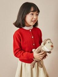 SUMCICO الخريف/الشتاء بلون الصوف الأطفال سترة أسلوب بسيط للأطفال محبوك معطف الجولة الرقبة واحدة الصدر