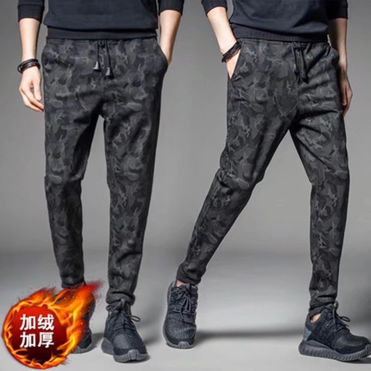 Autumn And Winter New Style Handsome Thick Plus Velvet Warm MEN'S Pants Casual Korean-style Harem Camouflage Bib Overall MEN'S T