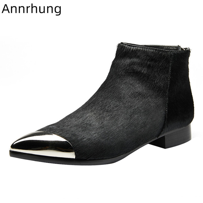 Comfortable Horse Hair Boots Women Metal Pointy Toe Square Heel Casual Bottes Back Zipper 2020 Autumn Winter Ankle Boots Woman
