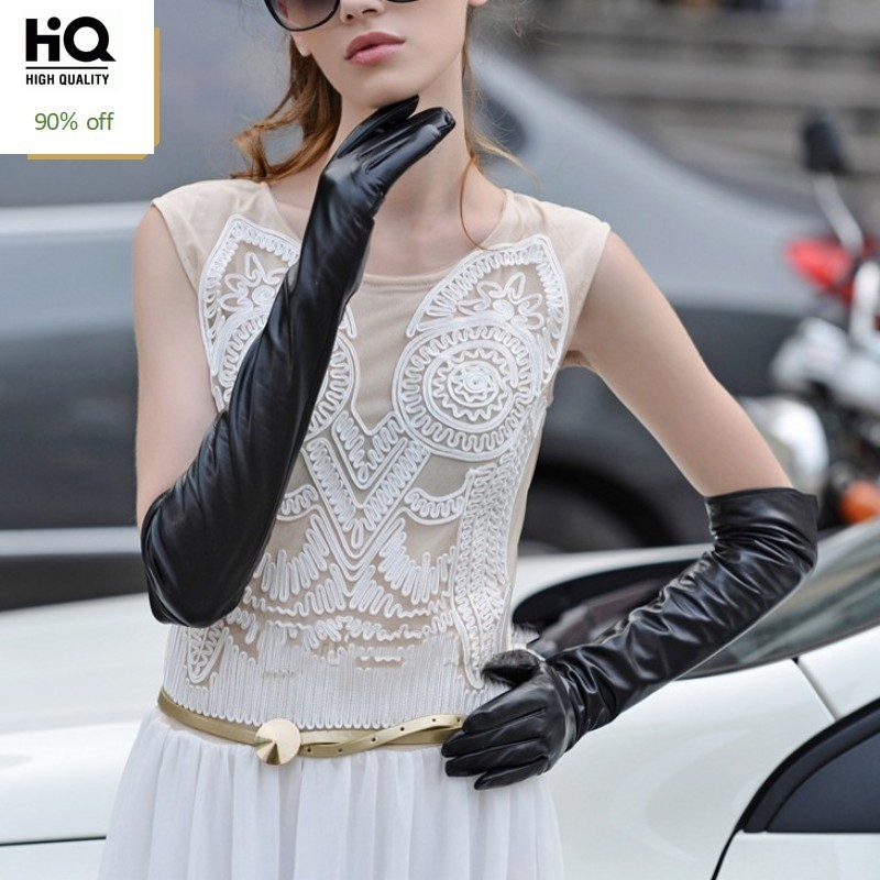2020 New Arrival Luxury Womens Gloves Genuine Leather For Woman Gloves Fashion Solid Long Woman Winter Gloves Plus Size M-XL