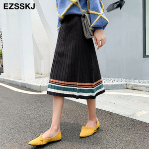 Image 2 - Jupe plissée pour femmes, taille élastique, nouvelle collection 2019, automne hiver, collection décontracté