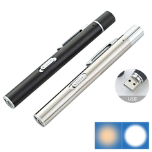 USB Rechargeable Handy Pen Light Mini Nursing Flashlight LED Torch Lamp With Stainless Steel Clip Pocket Led Flashlight 2021