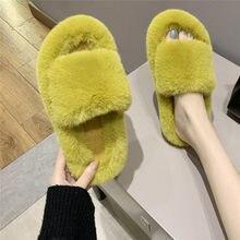 Cootelili mulher chinelos de inverno sapatos para mulher plataforma casa chinelos de pele do falso sapatos quentes 3cm salto feminino slides mais tamanho 42
