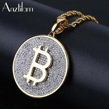 Alta qualidade iced out bitcoin hip hop pingente & colares cor prata ouro longo link correntes para homens moeda jóias presentes