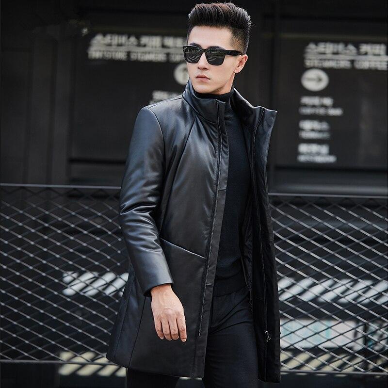 Winter Genuine Leather Jacket Men Clothes 2020 Streetwear Real Sheepskin Duck Down Coat Long Leather Jackets Hooded 6803