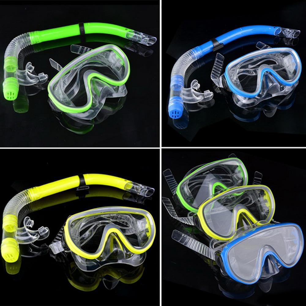 4-color Professional Kids Diving Goggle Mask Breathing Tube Shockproof Anti-fog Swimming Glasses Band Snorkeling Glasses Set Hs