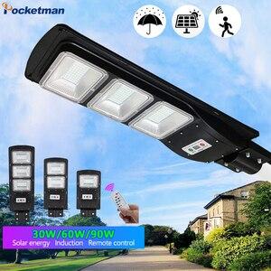 Уличный светильник на солнечной батарее, 90 Вт, водонепроницаемый, с радаром, PIR датчиком движения, для квадратного сада, Ярда, уличный, настен...
