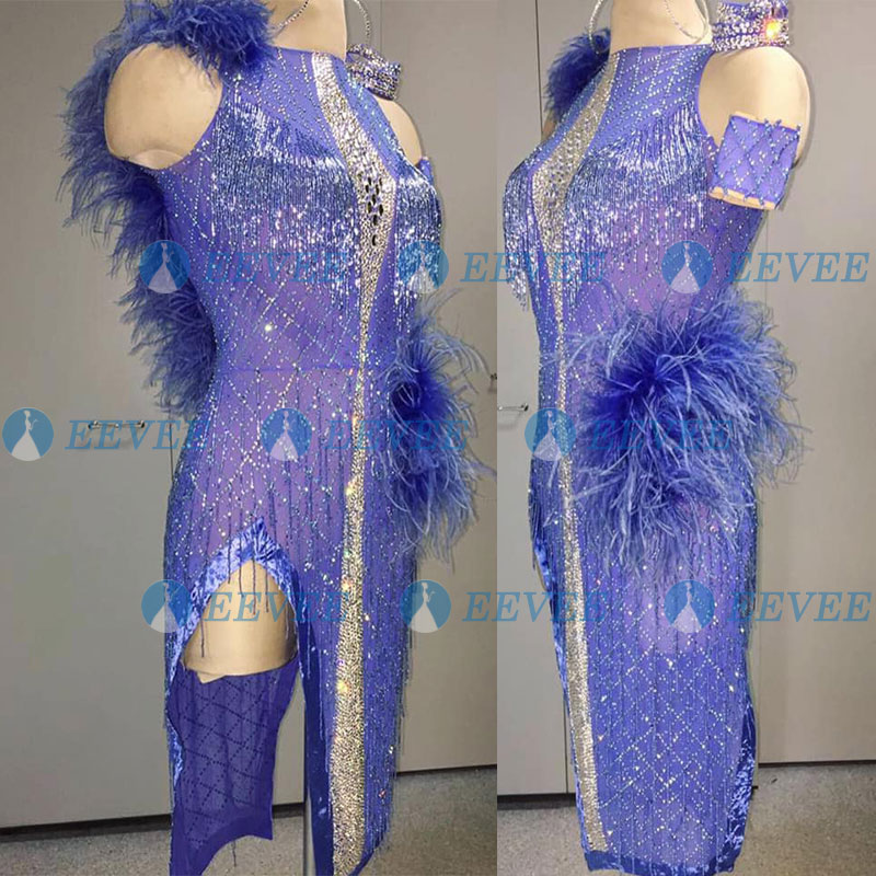 Latin Dance Dress Women Girls Sexy Rhinestone Beads Latin Dance Apparel Latin Dance Dress Purple Feather Latin Dance Dress