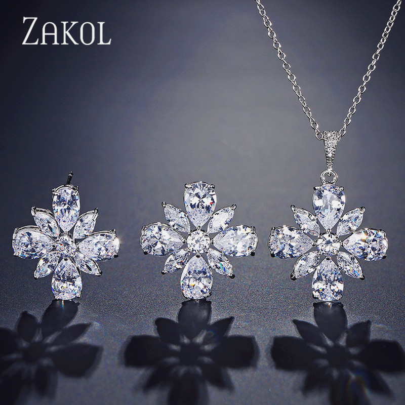 ZAKOL Trendy AAA Cubic Zirconia Flower Earrings & Necklace Set For Women Fashion Bridal Wedding Jewelry FSEP2234