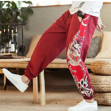 Męskie spodnie Harajuku styl japoński samuraj kostium smok ukiyo-e moda Vintage Haori spodnie Streetwear szerokie nogawki spodnie haremki tanie tanio CN (pochodzenie) COTTON Poliester Pants Bez rękawów Japanese style