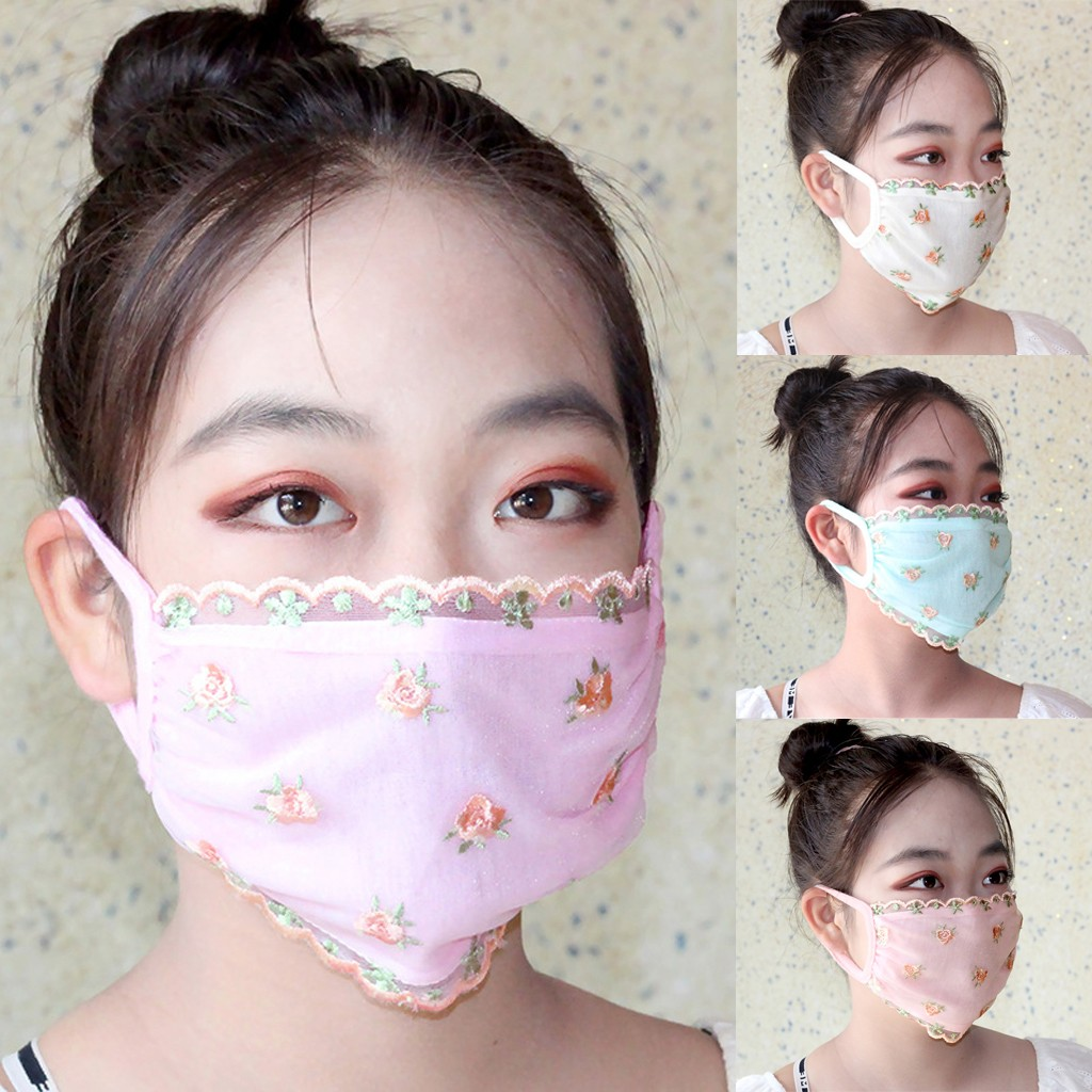 Fashion Women's Printing Lace Mouth Reuse Masks Cute Anti Dust Kawaii Muffle Face Mask Masque Protection маска многоразовая