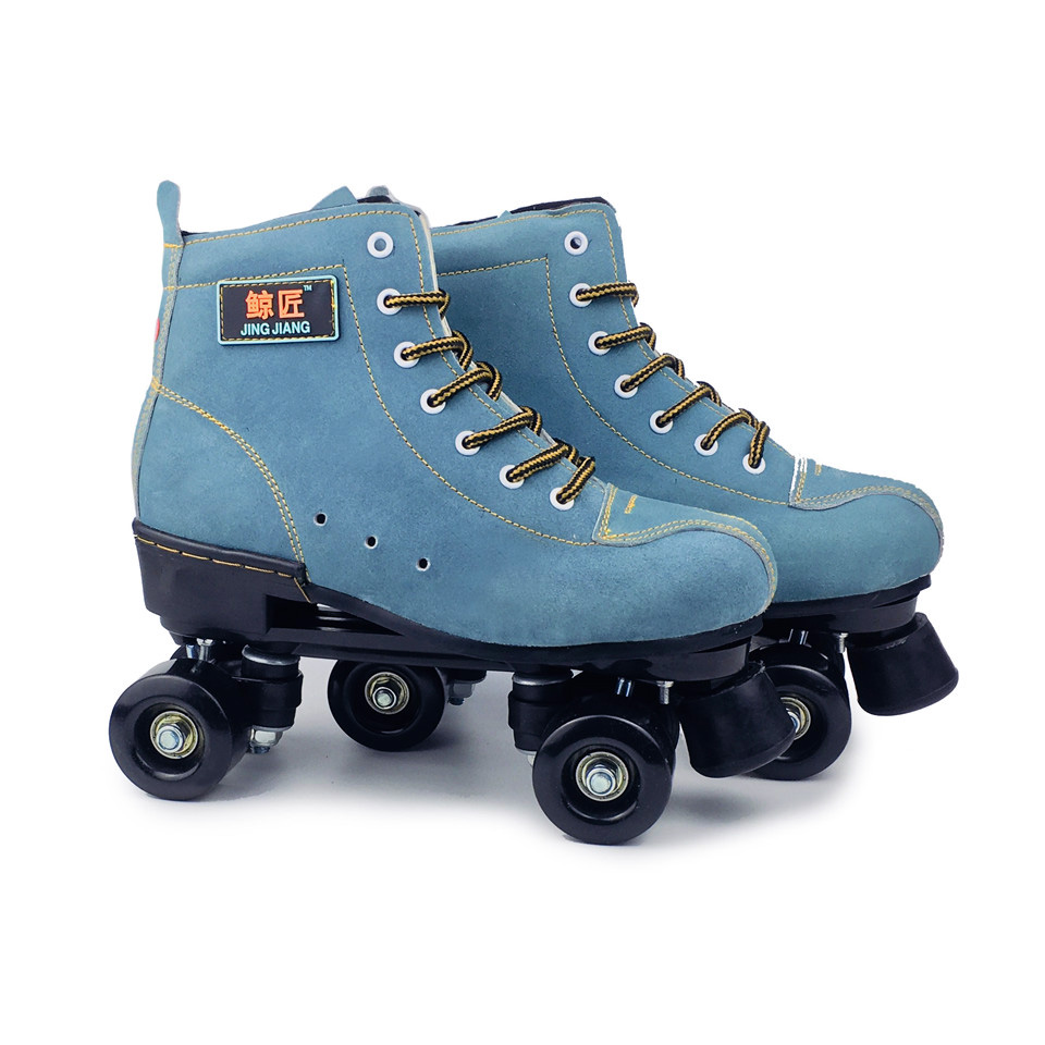 JK Adult  Artificial Leather Roller Skates Double Line Skates Two Line Skating Shoes Patines With Black PU 4 Wheels SP1