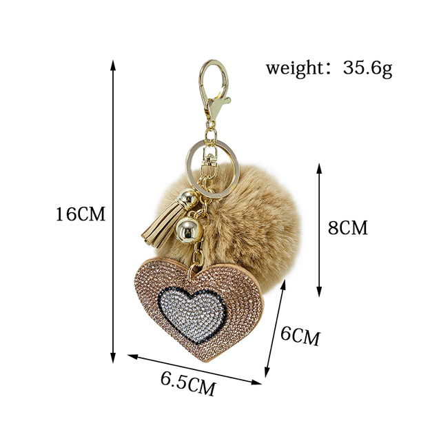 Pompom Keychain Rhinestone Heart Women's Bags Key Ring Handmade Accrssories Keychains Pendants Charming Suspension Decoration 5