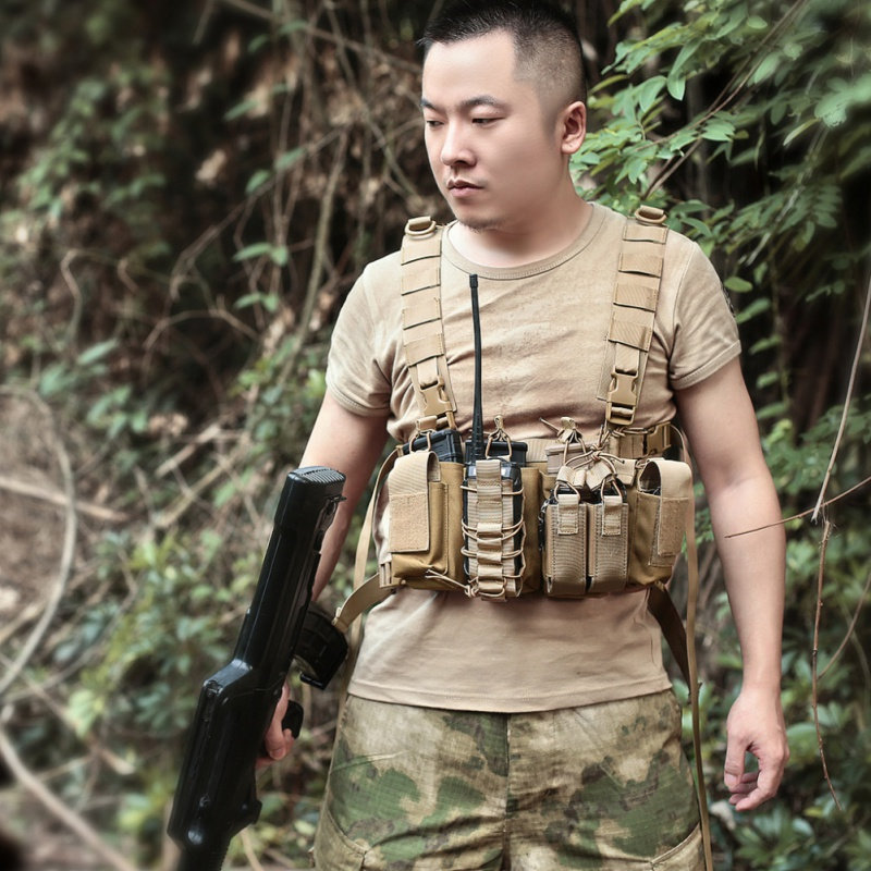 Men Women Tactical Chest Rig Bag Radio Harness Chest Front Pack Pouch Holster Military Vest Adjustable Two Way Radio Waist Pack