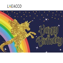 Laeacco Gold Unicorn Party Baby Birthday Rainbow Glitter Star Poster Photo Backgrounds Photography Backdrops For Studio